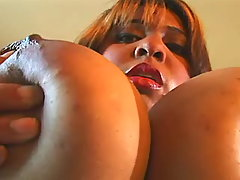 Sweet breasty fatty has fun w dildo