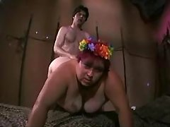Lewd mature plumper in stockings rides hard cock busty fats