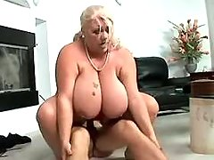 Chubby mature with giant melons gets facial busty fats