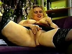 Obese vixen in black lingerie gets cumload on tits busty fats