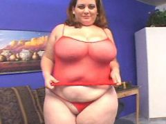 Fat mature in red has fun with guys busty fats